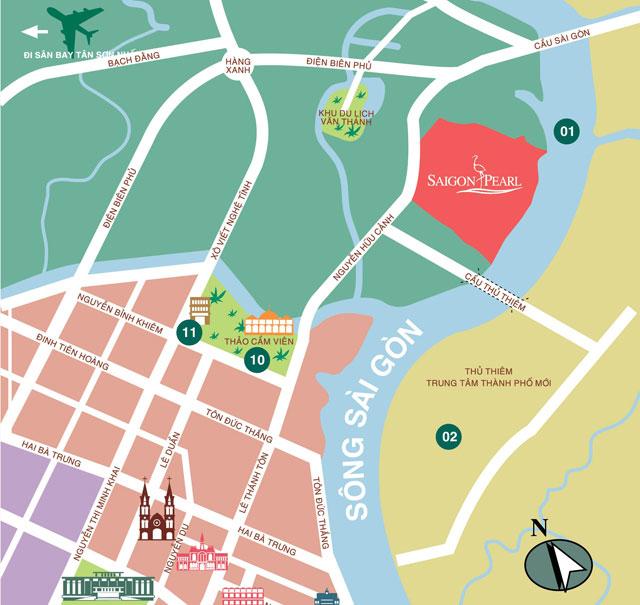Location of Saigon Pearl apartment