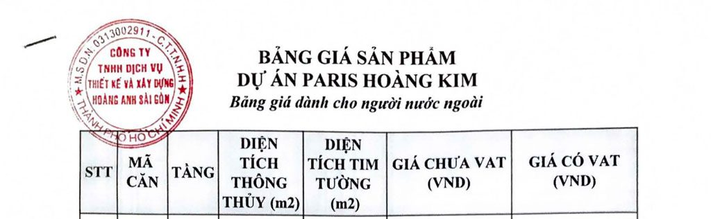 Price list Paris Hoang Kim Apartment