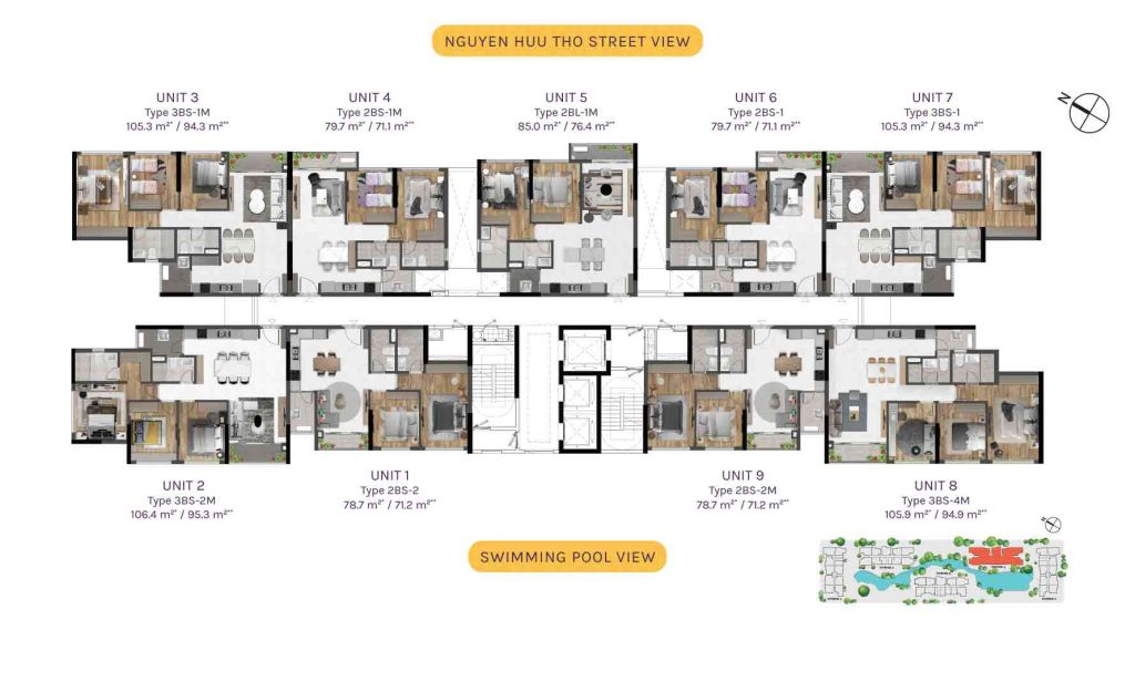 Typical floor plans Tower 4 with Bare Units