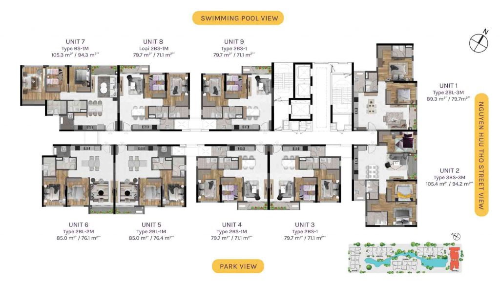 Typical floor plans Tower 5 with fully fitted units